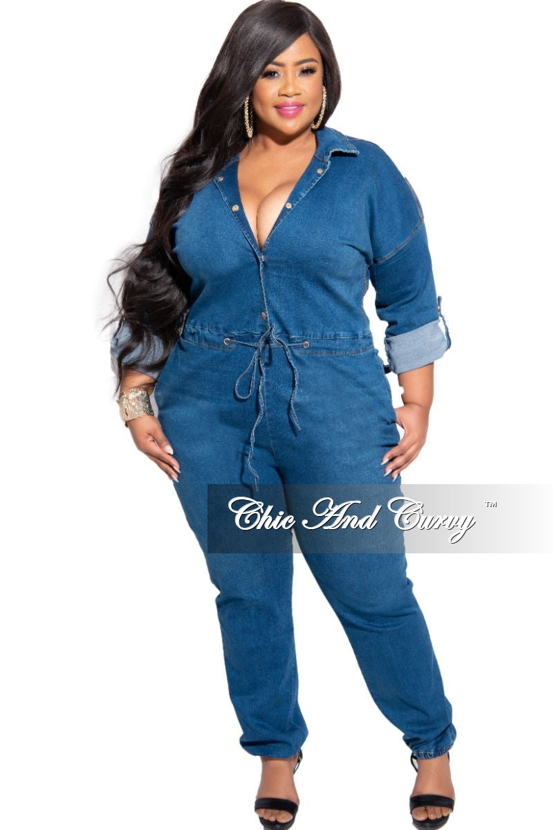 Final Sale Plus Size Collared Button Drawstring Jumpsuit with Back Gold Chains in Denim