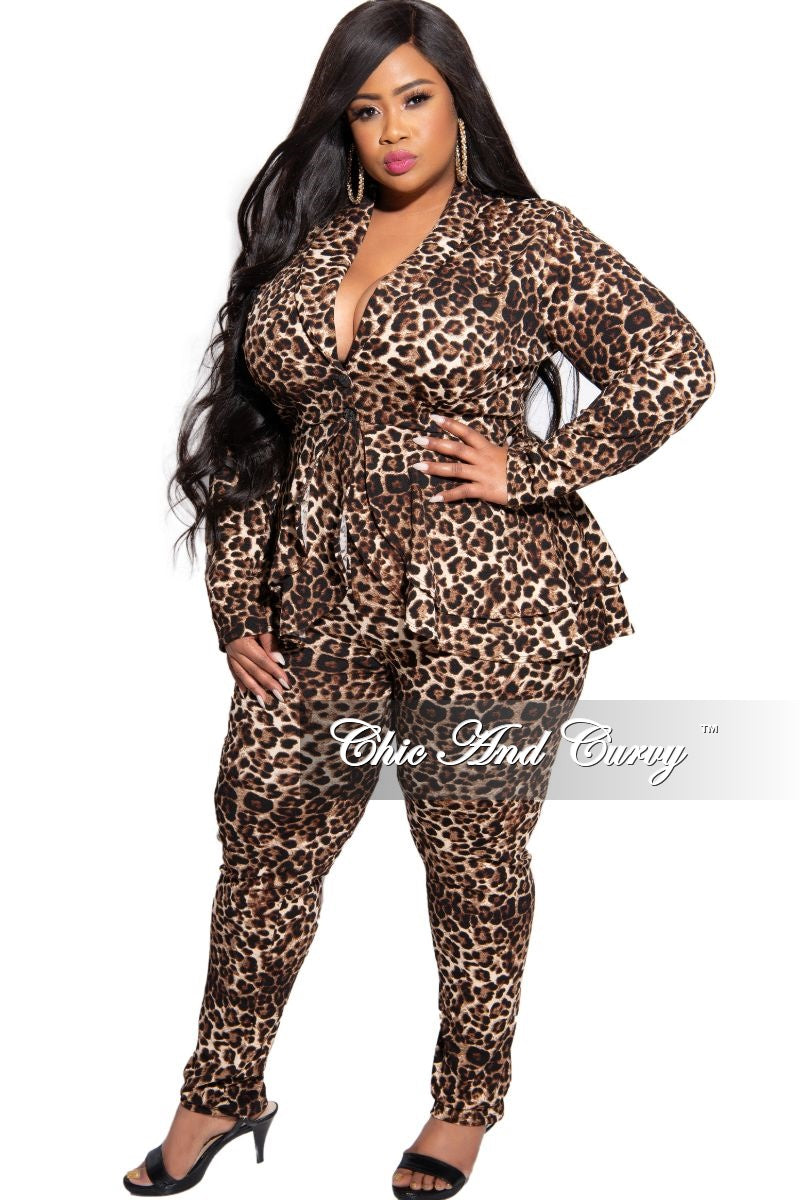 New Plus Size 2-Piece High-Low Peplum Blazer and Pants Set in Animal Print
