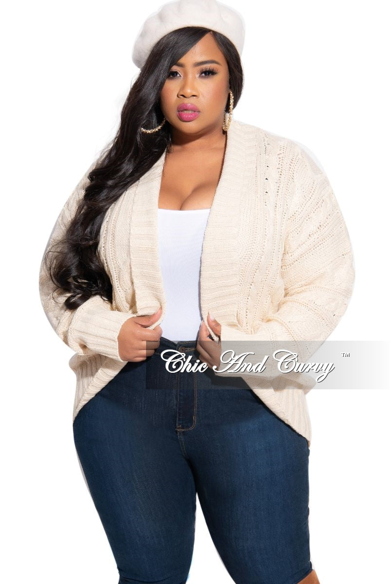 Final Sale Plus Size Knitted Cardigan in Ivory