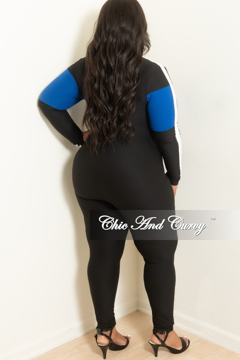 New Plus Size Long Sleeve Zip-Up Jumpsuit in Black Royal Blue and White