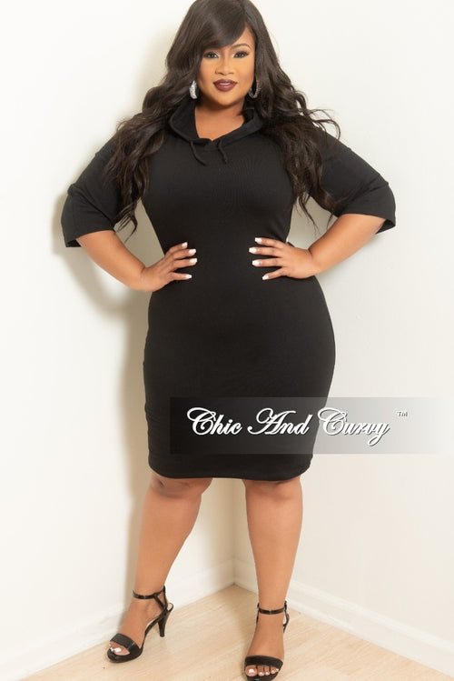 Final Sale Plus Size BodyCon Hooded Dress in Black