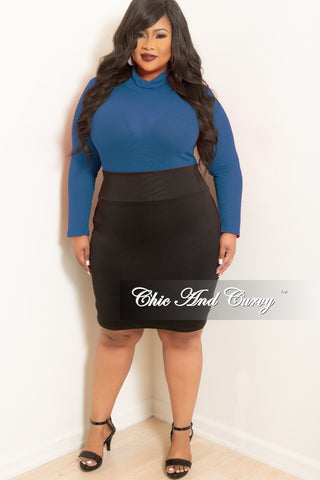 New Plus Size 2-Piece Drawstring Turtleneck Crop Top and Pants Set in Black with Navy, Red & White Trim