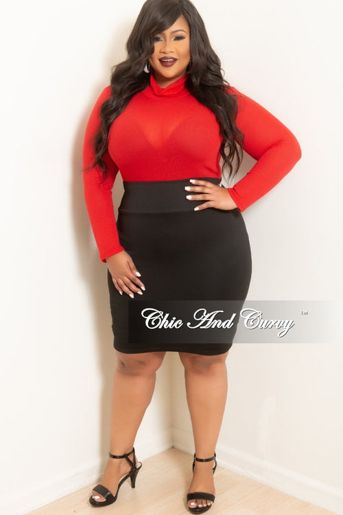 Final Sale Plus Size Long Sleeve Turtle Neck Top in Red