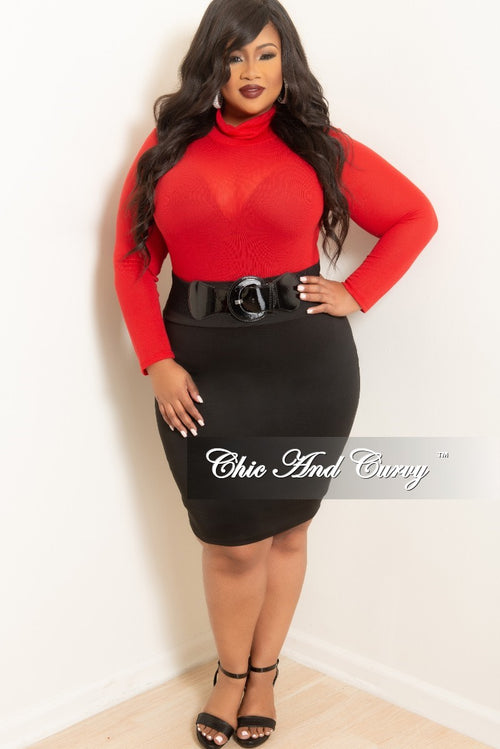 New Plus Size Knee Length Pencil Skirt in Black