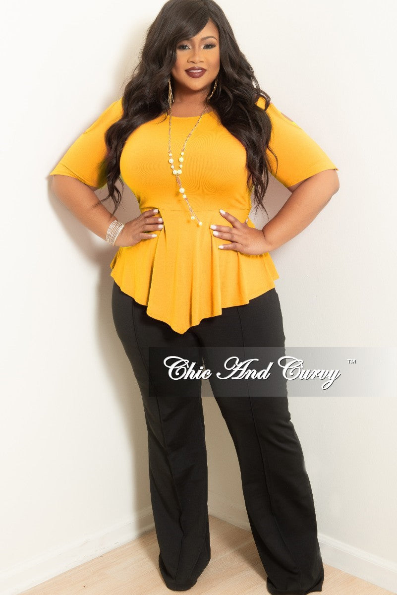 6858c4f12ce Final Sale Plus Size Colder Shoulder Peplum Top in Mustard – Chic And Curvy