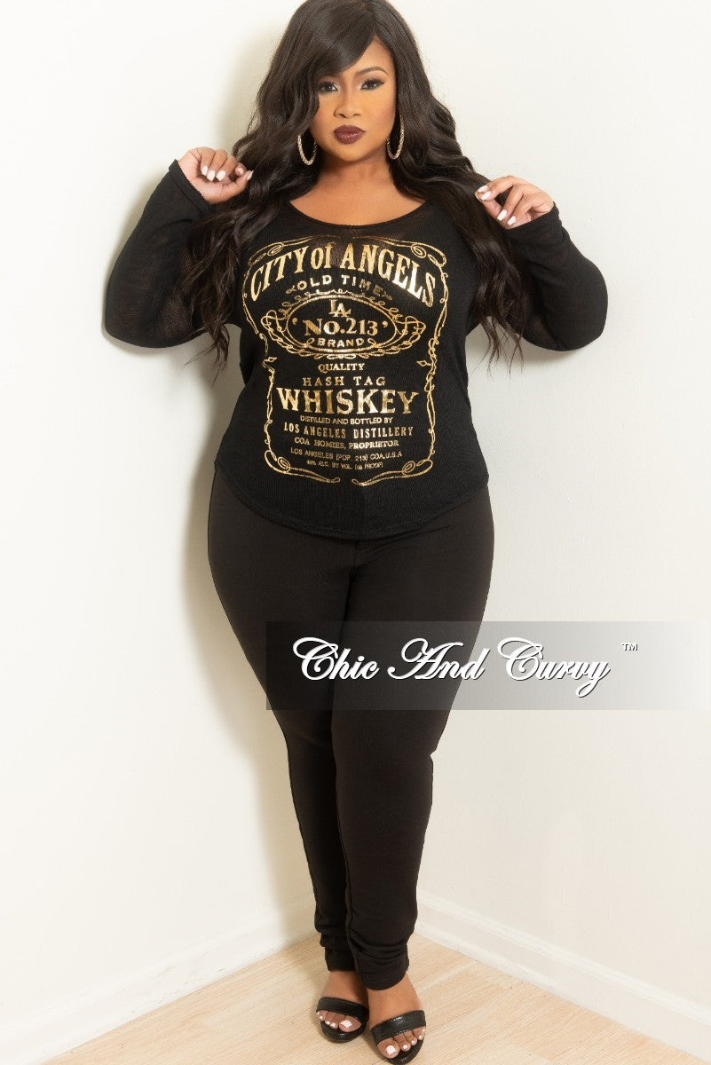 Final Sale Plus Size City Of Angels Long Sleeve Knit See Thru Top in Black and Gold