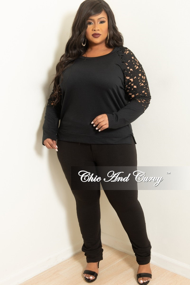 Final Sale Plus Size Top with Embroidered Lace Sleeves in Black