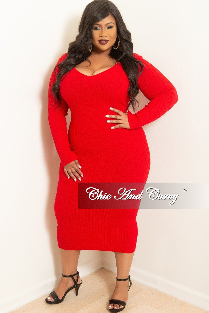 a7d319ddb6d3 Final Sale Plus Size Ribbed Knit Dress in Red – Chic And Curvy