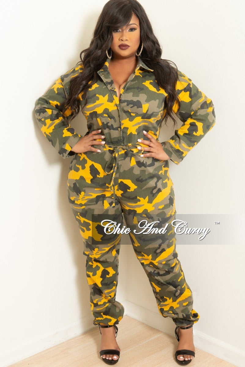 Final Sale Plus Size Button-Up Jumpsuit with Drawstring in Mustard Camouflage Print