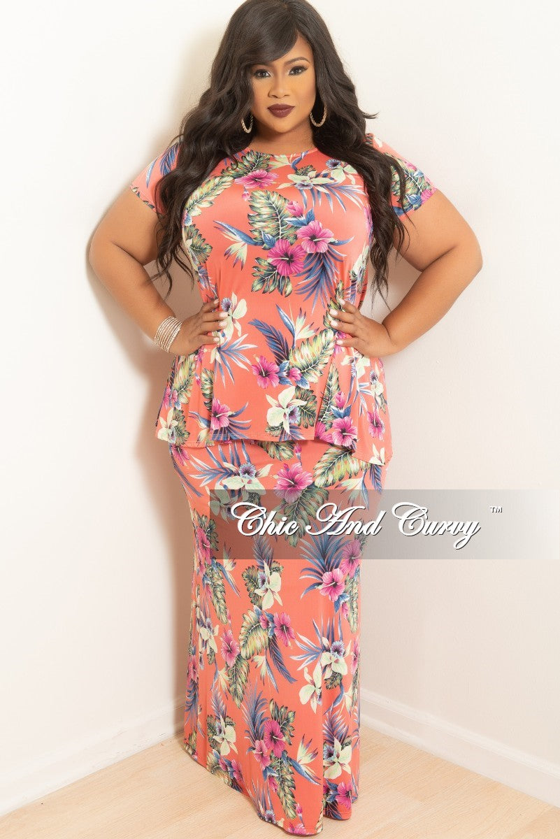 e9eb642bab (Set) Final Sale Plus Size 2-Piece Top and Long Skirt Set in Pink Floral  Print (Set)