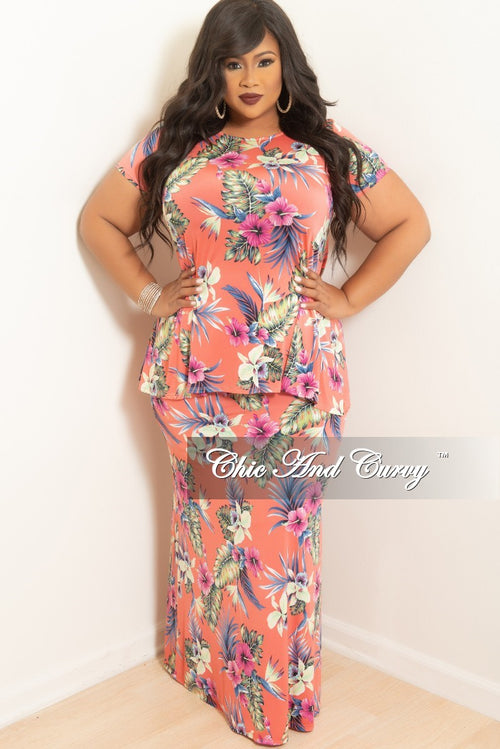 (Set) New Plus Size 2-Piece Top and Long Skirt Set in Pink Floral Print (Set)
