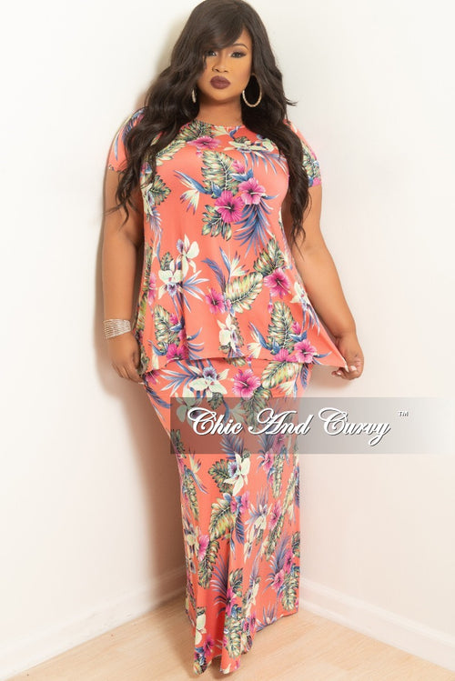 (Skirt Only) New Plus Size Long Skirt in Pink Floral Print (Skirt Only)