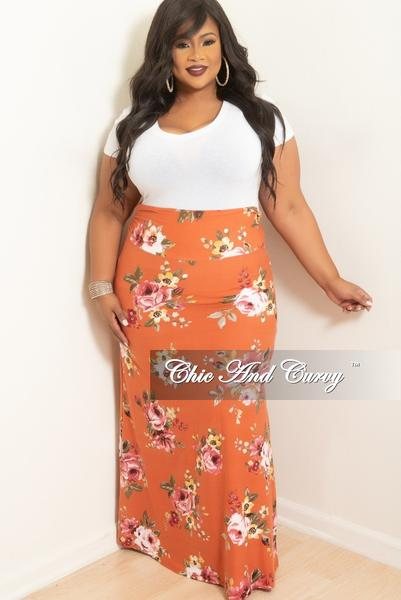 Final Sale Plus Size Long Skirt in Mauve Floral Print