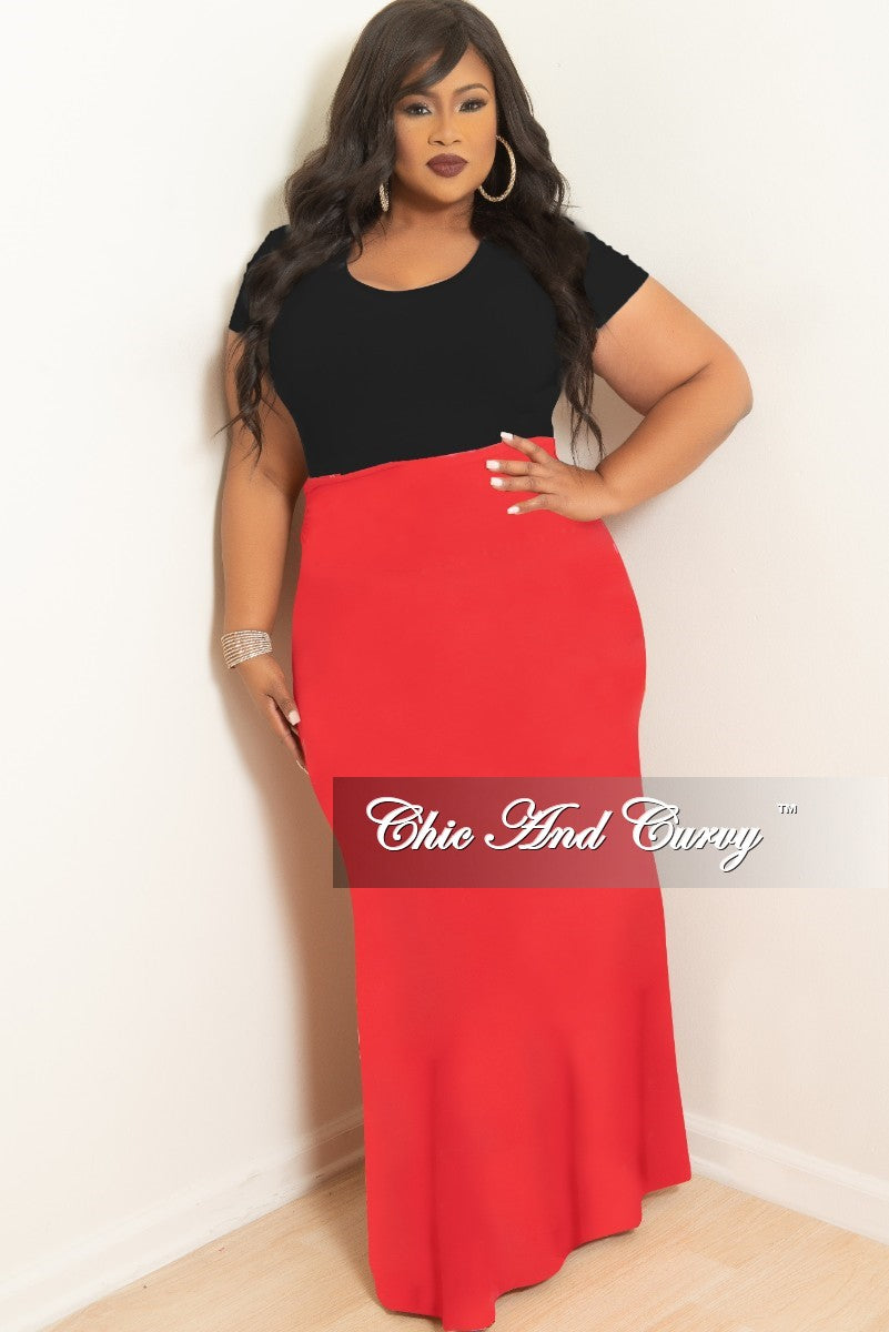 76f3a543fc Final Sale Plus Size Long Maxi Skirt with Pockets in Red – Chic And ...