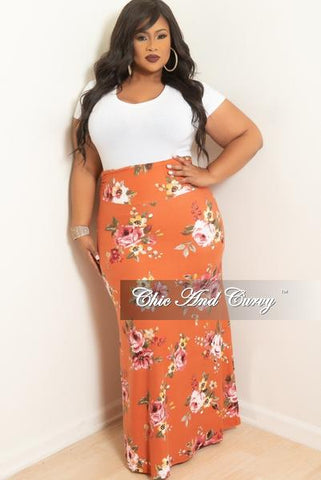 New Plus Size Long Maxi Skirt in Blue Green and Tan Design Print