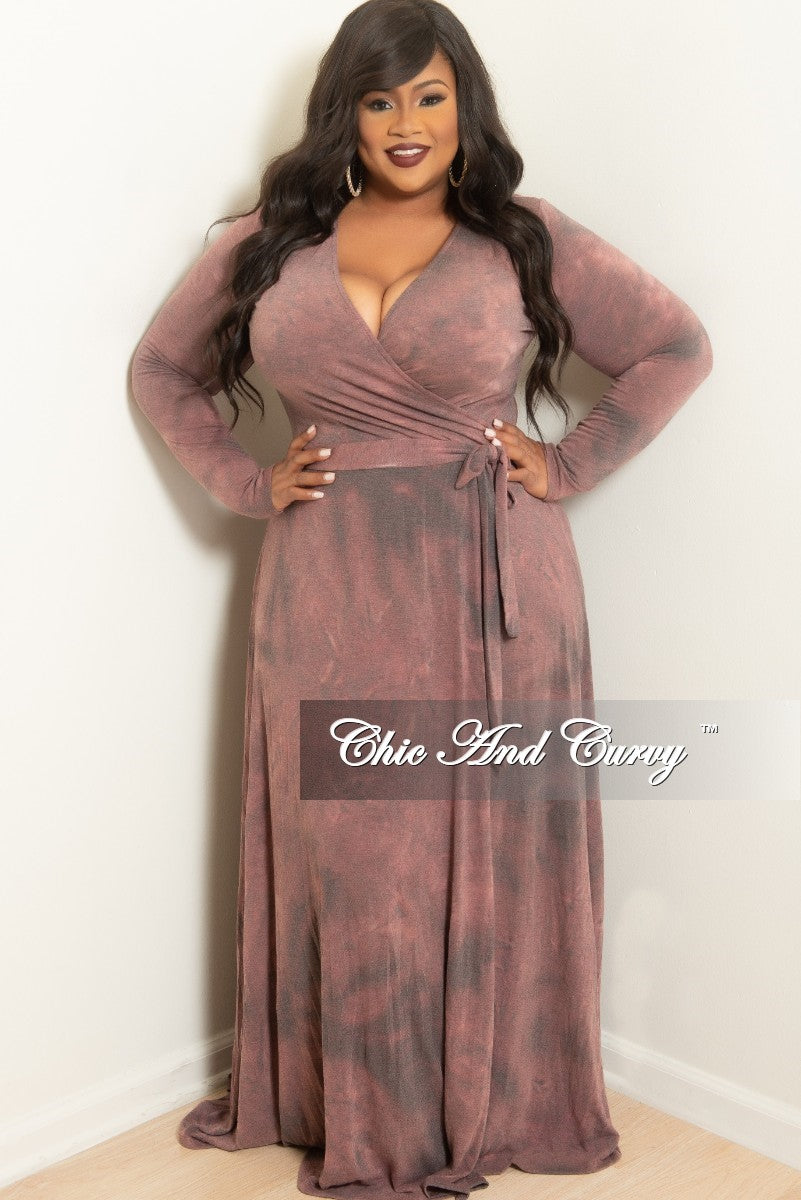 145c18effd8 New Plus Size Long Wrap Dress with Attached Tie Grey Mauve Tie Dye – Chic  And Curvy