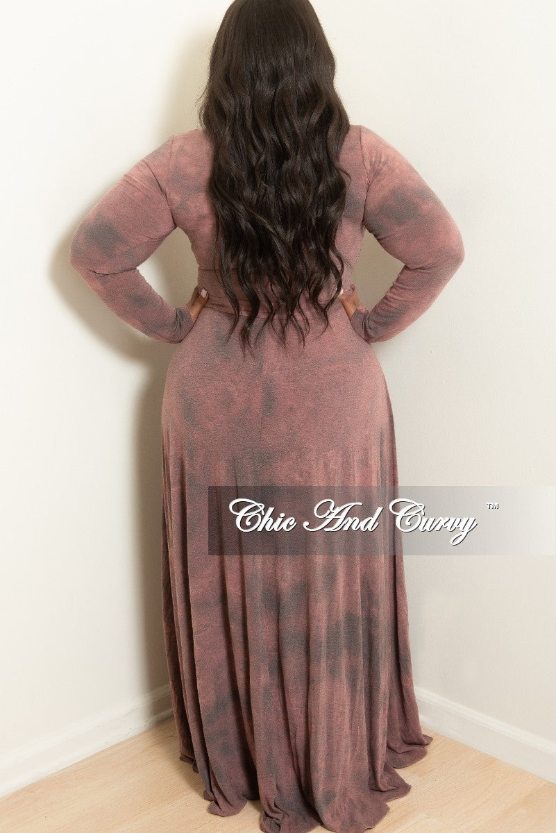New Plus Size Long Wrap Dress with Attached Tie Grey Mauve Tie Dye