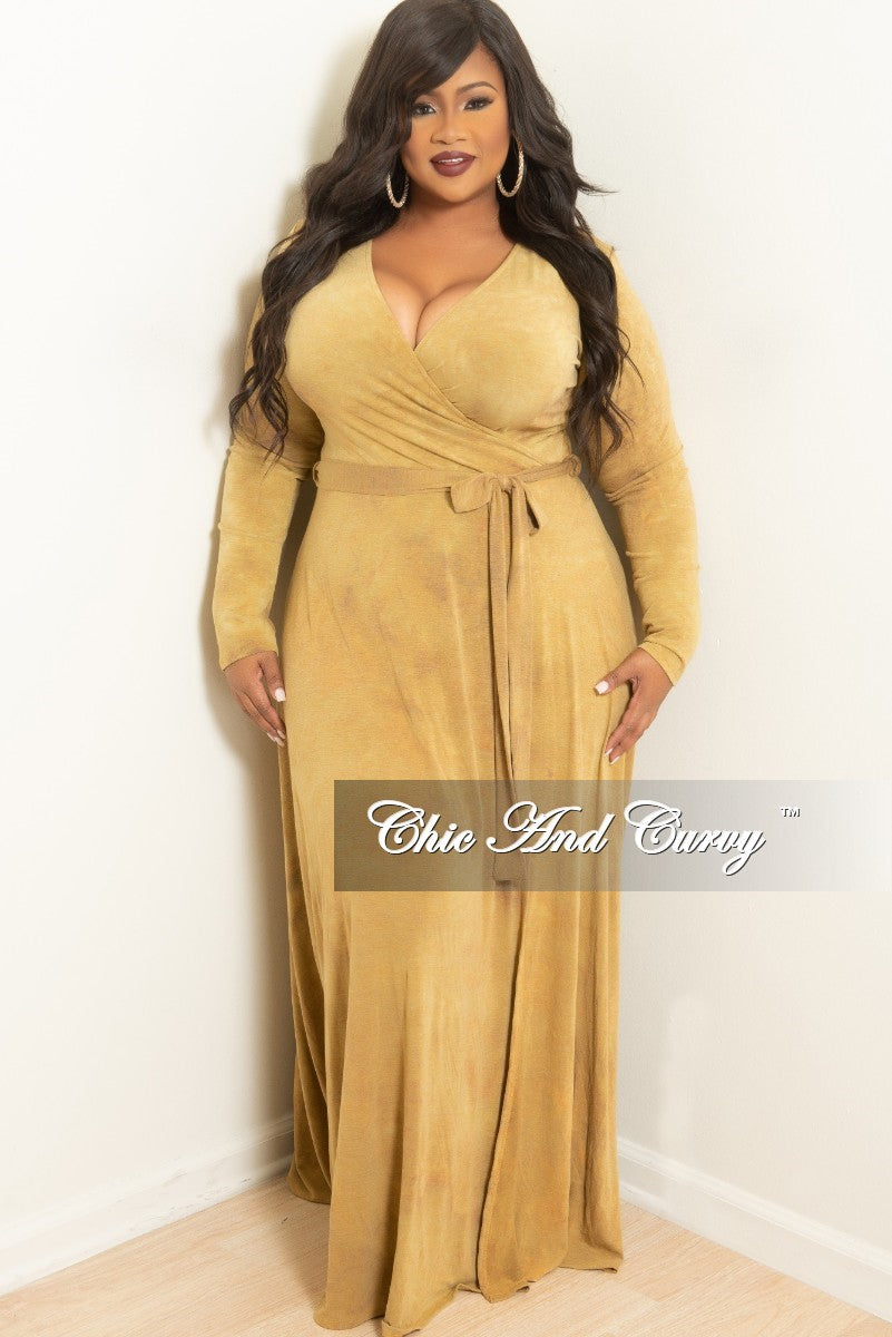 a7f82f53ac0 New Plus Size Long Wrap Dress with Attached Tie Mustard in Tie Dye – Chic  And Curvy