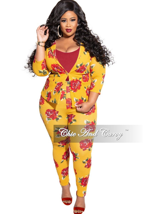 Final Sale Plus Size 2-Piece Jacket and Pants Suit in Mustard Rose Print