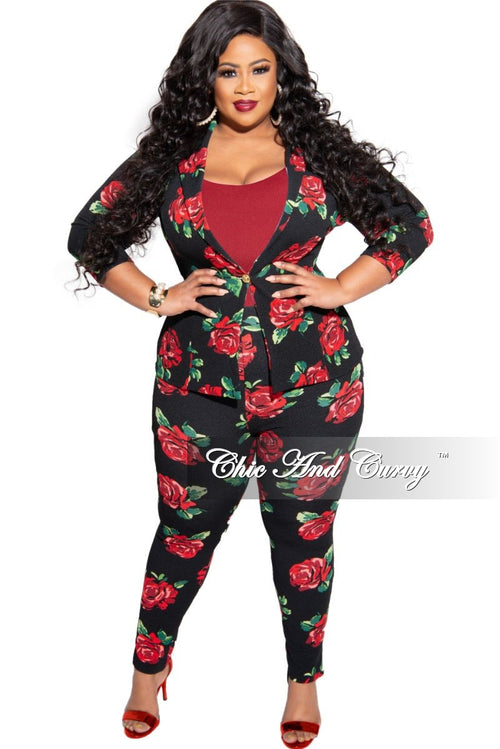 Final Sale Plus Size 2-Piece Jacket and Pants Suit in Black Rose Print
