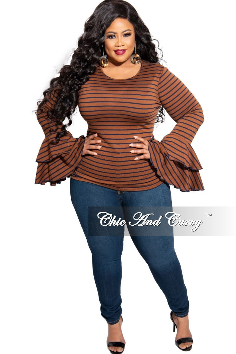 New Plus Size Bell Sleeve Top in Brown with Navy Stripes