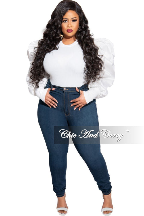 Final Sale Plus Size Ribbed Top with Ruffled Peasant Sleeves in Ivory
