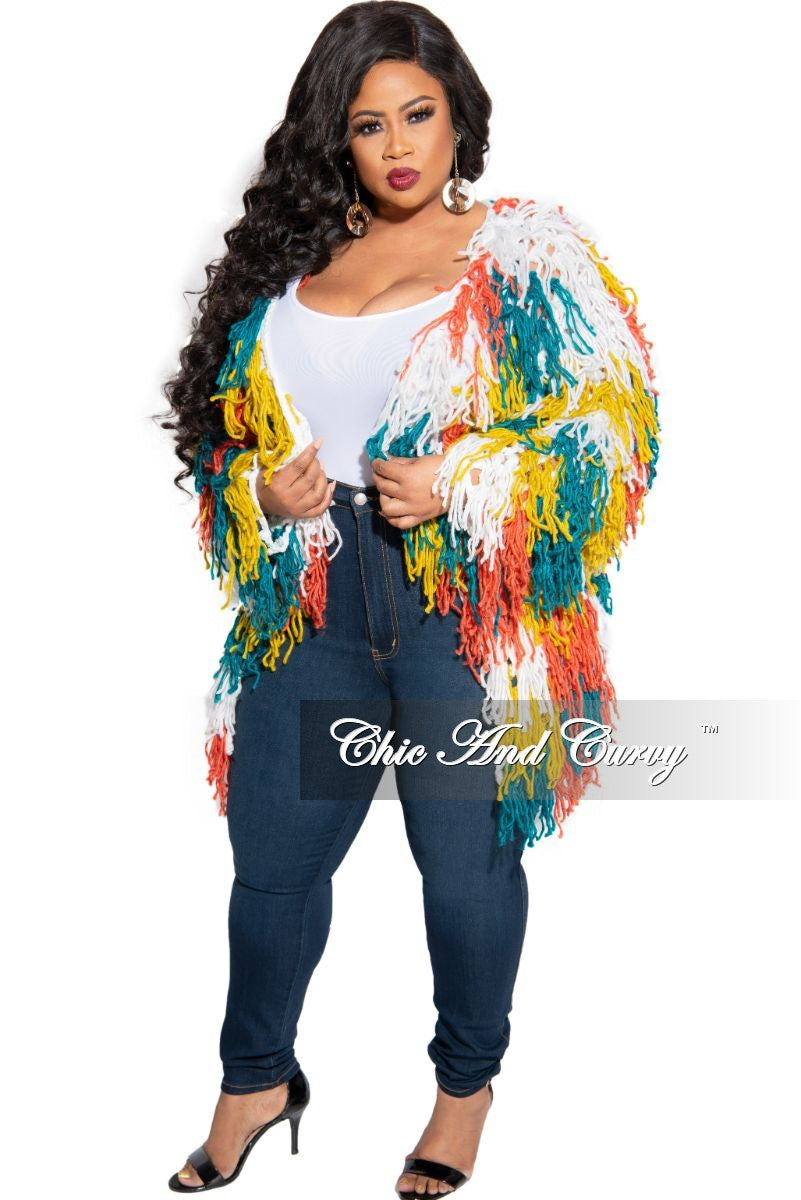 Final Sale Plus Size Fringe Cardigan in Crochet Knit With Open Front in White, Teal, & Orange