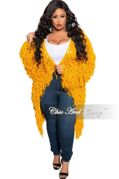 Final Sale Plus Size Fringe Cardigan in Crochet Knit With Open Front in Mustard (Seasonal)