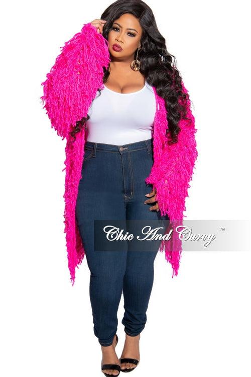 Final Sale Plus Size Fringe Cardigan in Crochet Knit With Open Front in Fuchsia (Seasonal)