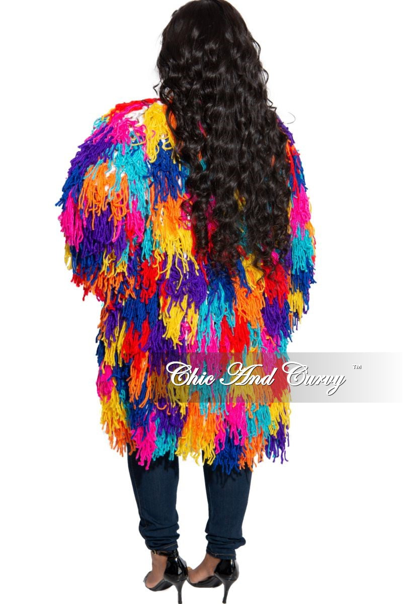 Final Sale Plus Size Fringe Cardigan in Crochet Knit With Open Front in Multi Color (Seasonal)