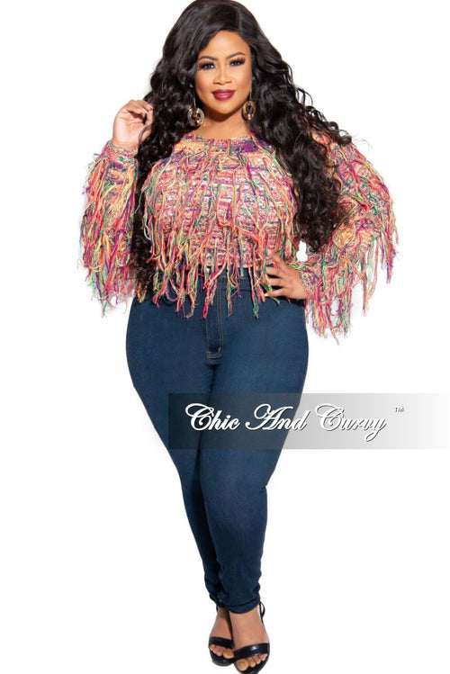 Final Sale Plus Size Fringe Crochet Knit Pullover Crop Sweater in Multi Color