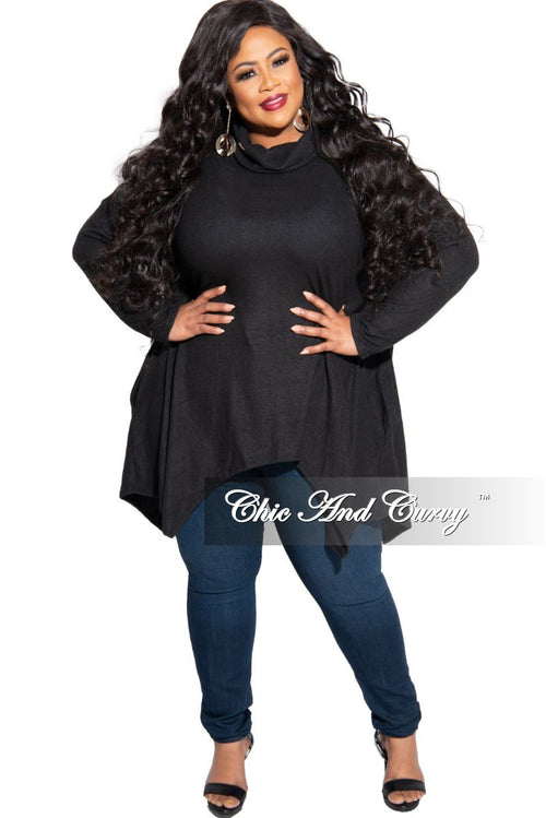 New Plus Size Turtleneck High-Low Pocket Tunic Top in Black