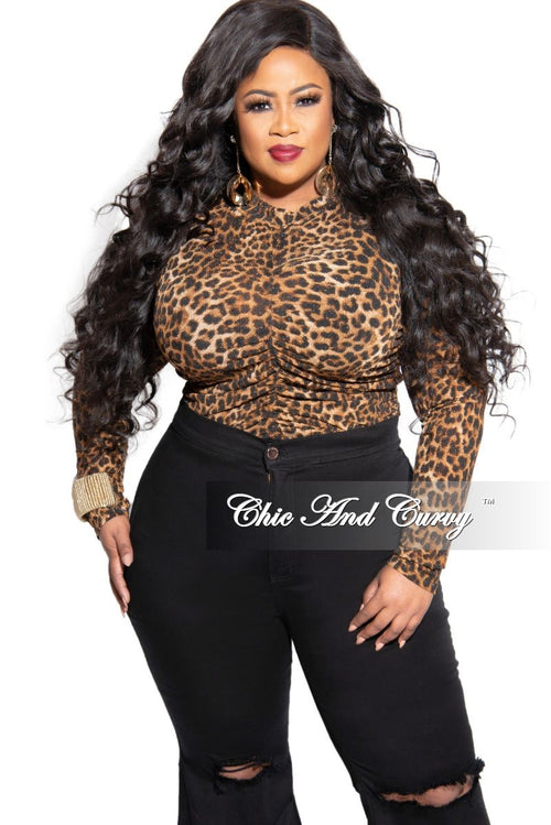 Final Sale Plus Size Long Sleeve Shimmer Ruched Top in Animal Print