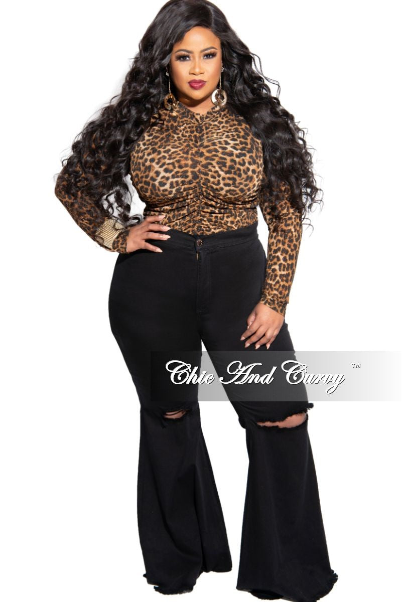 New Plus Size Long Sleeve Shimmer Ruched Top in Animal Print