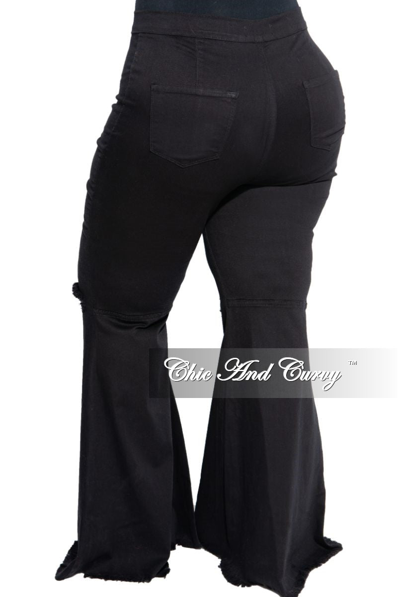 Final Sale Plus Size Wide Leg Denim Jeans with Distressed Knee in Black