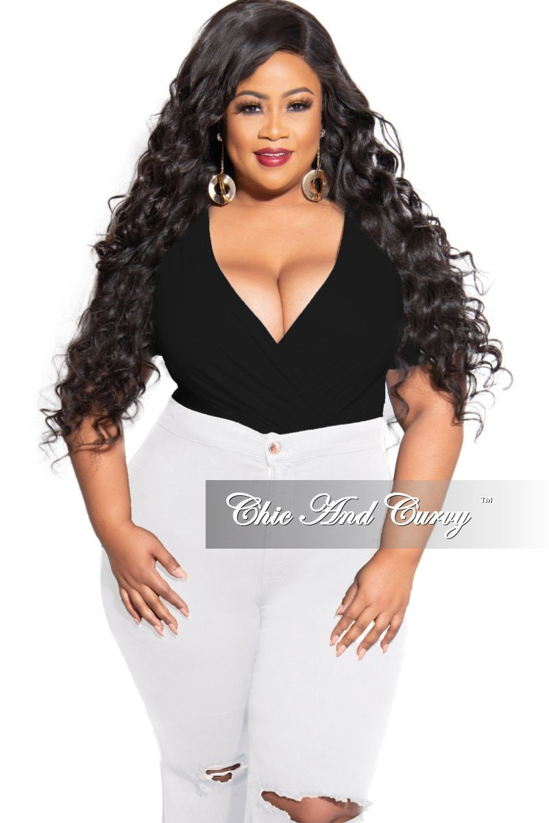 Final Sale Plus Size Short Faux Wrap Bodysuit in Black