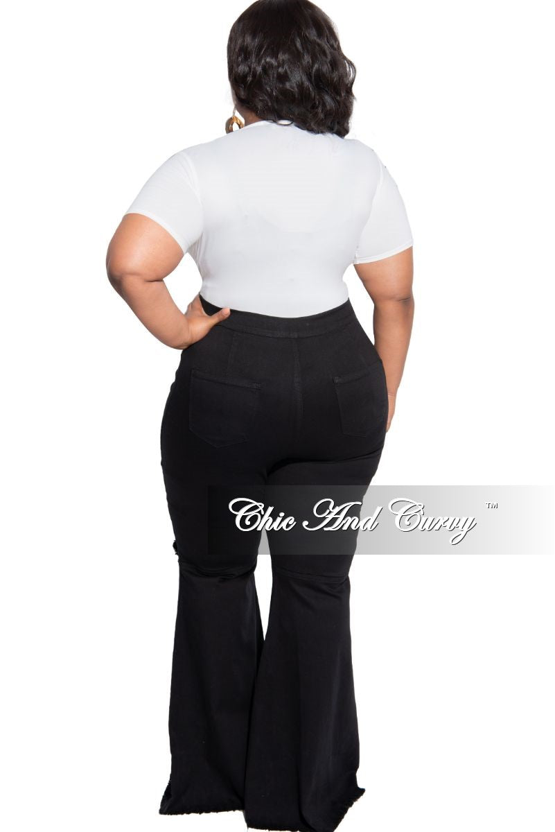 Final Sale Plus Size Short Faux Wrap Bodysuit in Off White