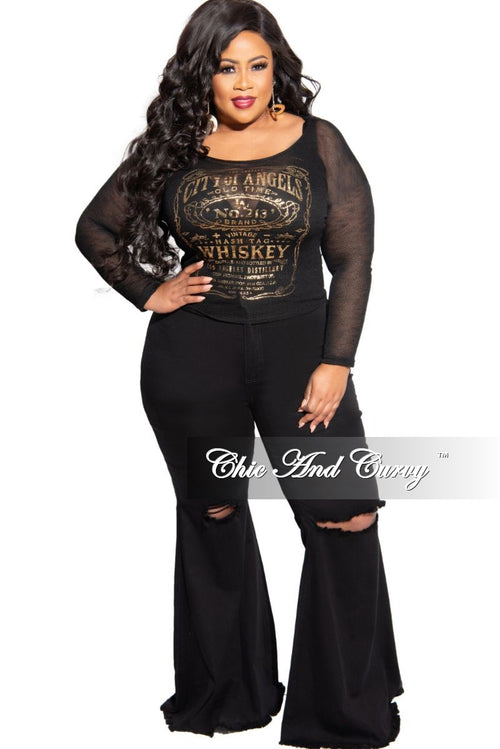 New Plus Size Black and Gold Sheer Knit Top
