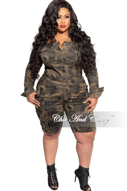 New Plus Size Cargo Bermuda Shorts with Belt in Camouflage Print