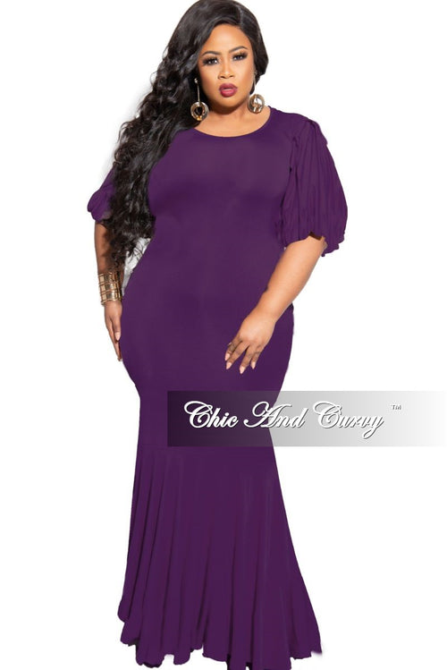 Final Sale Plus Size Exclusive Chic And Curvy Exclusive Puffy Sleeve Mermaid Gown in Plum
