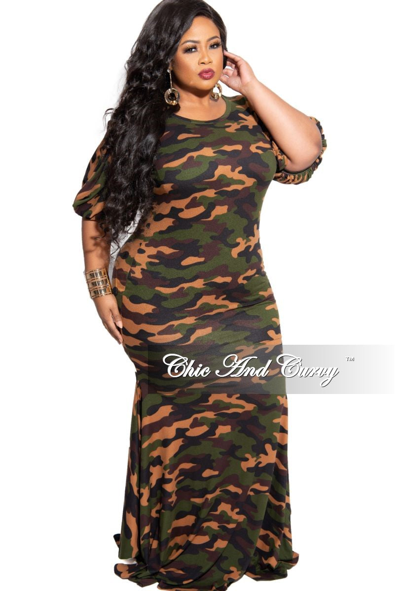 Final Sale Plus Size Exclusive Chic And Curvy Exclusive Puffy Sleeve Mermaid Gown in Camouflage Print