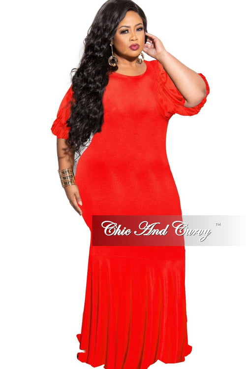 Final Sale Plus Size Exclusive Chic And Curvy Exclusive Puffy Sleeve Mermaid Gown in Red