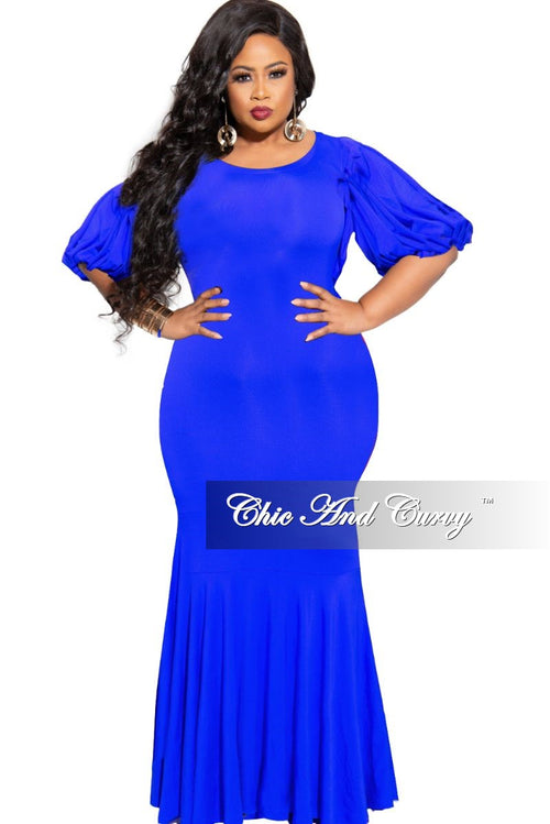 Final Sale Plus Size Exclusive Chic And Curvy Exclusive Puffy Sleeve Mermaid Gown in Royal Blue
