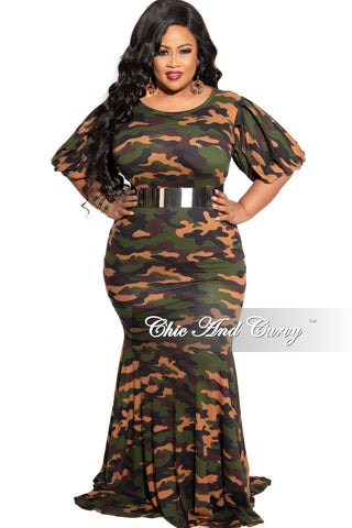 Final Sale Plus Size Exclusive Chic And Curvy Ribbed Zip Onesie Jumpsuit with Head Tie in Camouflage