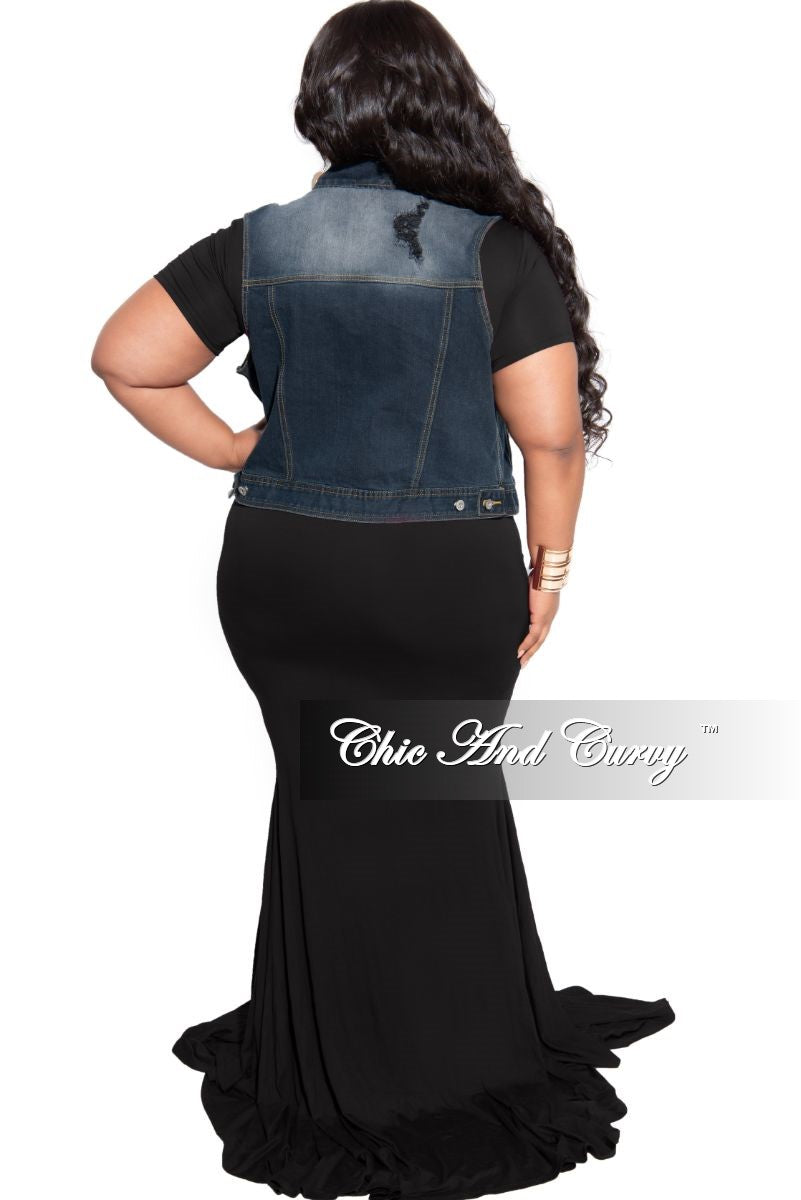 New Plus Size Distressed Vest in Black Wash