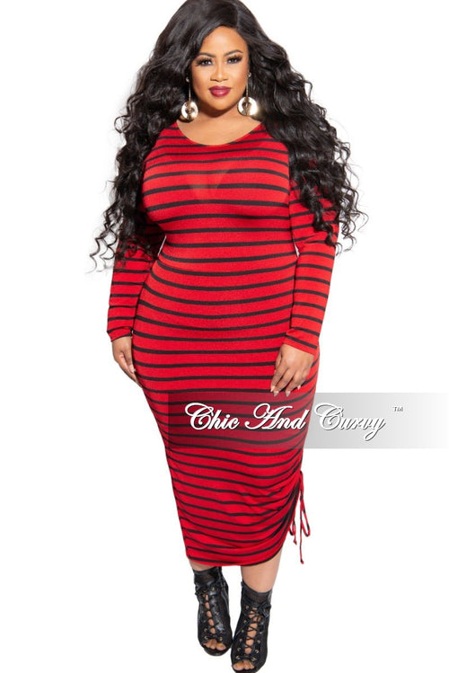 New Plus Size Midi BodyCon Dress with Ruched Side in Red and Black Stripe