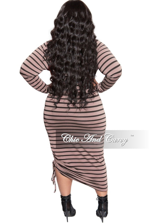New Plus Size Midi BodyCon Dress with Ruched Side in Cappuccino and Black Stripe