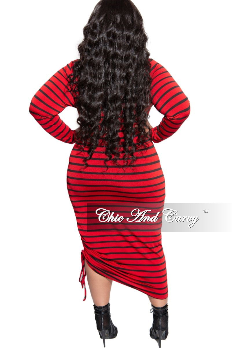 Final Sale Plus Size Midi BodyCon Dress with Ruched Side in Red and Black Stripe