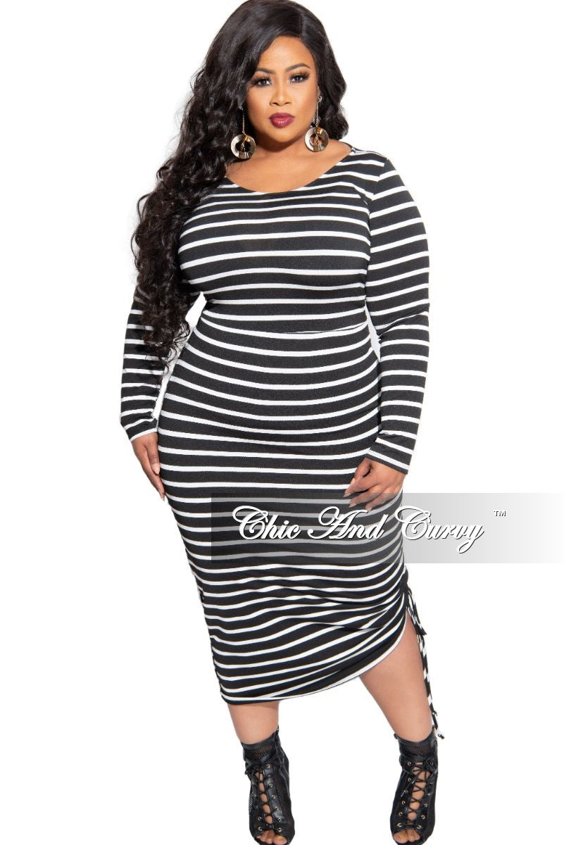 Final Sale Plus Size Midi BodyCon Dress with Ruched Side in Black and White Stripe