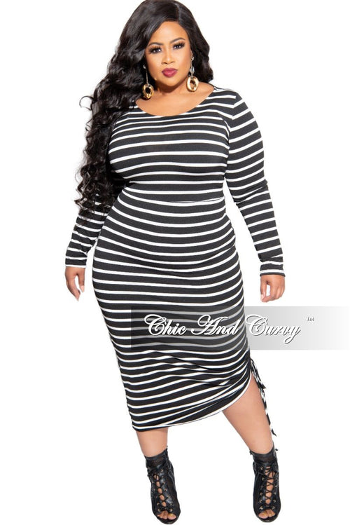New Plus Size Midi BodyCon Dress with Ruched Side in Black and White Stripe